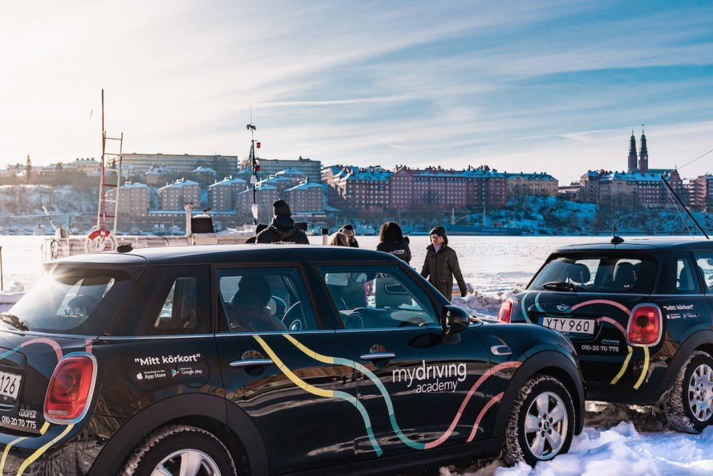 Image of My Driving Academy car in the snow in Stockholm